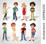 group cartoon people. teenagers. | Shutterstock .eps vector #100986103