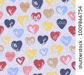jeans background with hearts.... | Shutterstock .eps vector #1009866754