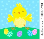 easter chick and eggs | Shutterstock .eps vector #1009875913