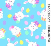 easter bunny cupcakes pattern   Shutterstock .eps vector #1009877068