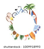 watercolor round summer template | Shutterstock . vector #1009918993