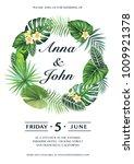 tropical wedding invitation... | Shutterstock .eps vector #1009921378