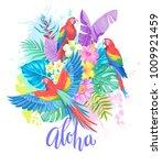 tropical summer arrangement... | Shutterstock .eps vector #1009921459
