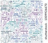 winter sports doodle set.... | Shutterstock .eps vector #1009926670