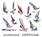 illustration of colorful sails... | Shutterstock .eps vector #1009931368