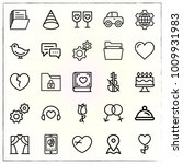valentine's day line icons set... | Shutterstock .eps vector #1009931983