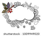 floral frame in doodle style... | Shutterstock .eps vector #1009949020