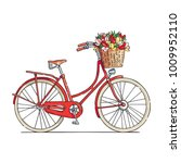 red city bicycle with a flower...   Shutterstock .eps vector #1009952110