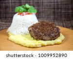 hamburger with potato pure ... | Shutterstock . vector #1009952890