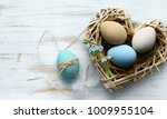 easter background with easter...   Shutterstock . vector #1009955104