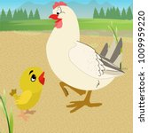 chicken with chick | Shutterstock .eps vector #1009959220
