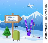 winter vacation. skiing and... | Shutterstock .eps vector #1009965409