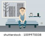 tired man sitting on his bed.... | Shutterstock .eps vector #1009970038