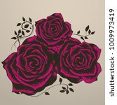 Stock vector three roses full vector handmade illustration 1009973419