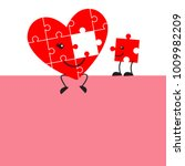 cute jigsaw puzzle heart and...   Shutterstock .eps vector #1009982209