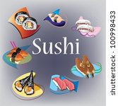 sushi and traditional japanese... | Shutterstock . vector #100998433
