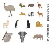 different animals cartoon icons ... | Shutterstock .eps vector #1009984798