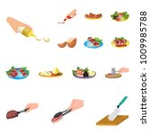 cooking food cartoon icons in...   Shutterstock .eps vector #1009985788