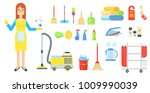 cleaning service. girl in... | Shutterstock .eps vector #1009990039