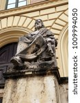 Small photo of Aristotle, the Greek philosopher statue by Ludwig von Schwanthaler (XIX century) in front of the entrance of Bavarian State Library in Munich, Germany