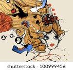 vector illustration of a pretty ...   Shutterstock .eps vector #100999456