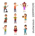 collection of music kids... | Shutterstock .eps vector #1009995190