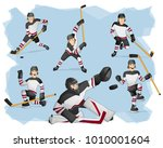 a set of ice hockey players in...   Shutterstock .eps vector #1010001604