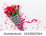 bouquet of spring tulip flower... | Shutterstock . vector #1010002564