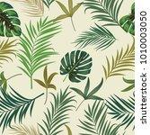seamless pattern of leaves... | Shutterstock .eps vector #1010003050
