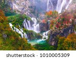 beautiful waterfall autumn in ... | Shutterstock . vector #1010005309
