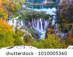 beautiful waterfall autumn in ... | Shutterstock . vector #1010005360