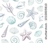 seashells vector seamless...   Shutterstock .eps vector #1010005810