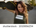 girl showing attitude close up... | Shutterstock . vector #1010006254