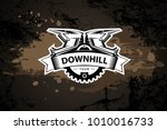 downhill motocros label design. ...