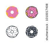 donut flat line silhouette | Shutterstock .eps vector #1010017408