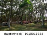 pile of camping tents at the... | Shutterstock . vector #1010019388