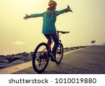 cyclist riding bike in the... | Shutterstock . vector #1010019880
