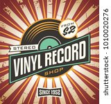 vinyl record shop retro sign... | Shutterstock .eps vector #1010020276