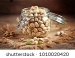 organic pistachios with sea... | Shutterstock . vector #1010020420