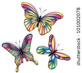 butterflies with colorful wings ... | Shutterstock .eps vector #101002078