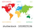 world map divided into six... | Shutterstock .eps vector #1010025136