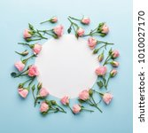 flowers composition. wreath... | Shutterstock . vector #1010027170