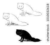 polar fox loop and silhouette...   Shutterstock .eps vector #1010032618