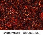 heat red lava of eruption... | Shutterstock . vector #1010033233