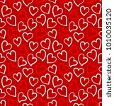 hearts seamless pattern on the... | Shutterstock .eps vector #1010035120