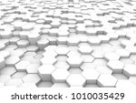 white hexagon 3d background... | Shutterstock . vector #1010035429