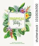 tropical hawaiian party... | Shutterstock .eps vector #1010036500