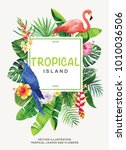tropical hawaiian poster with... | Shutterstock .eps vector #1010036506