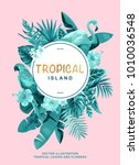 tropical hawaiian poster with... | Shutterstock .eps vector #1010036548