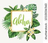 tropical hawaiian flyer with... | Shutterstock .eps vector #1010036560
